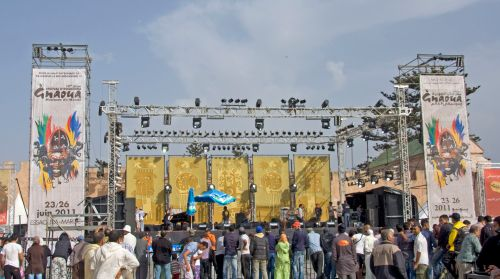 main stage at the gnaoua music festival, essaouira