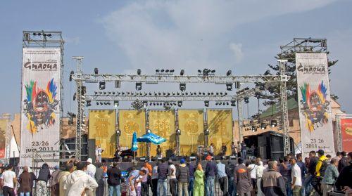 main stage at the gnaoua music festival, essaouira